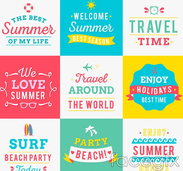 Summer poster fonts vector