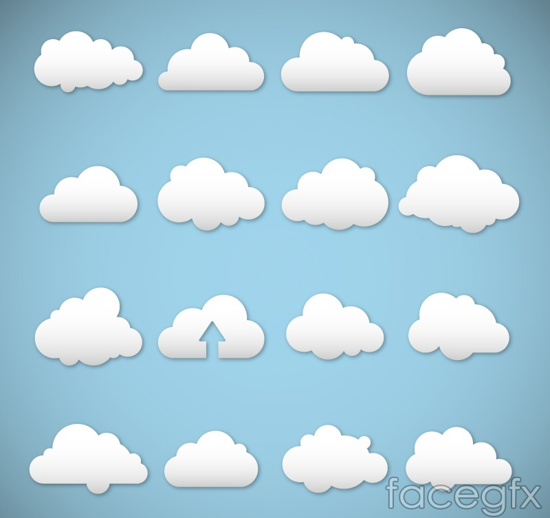 16 white clouds design vector