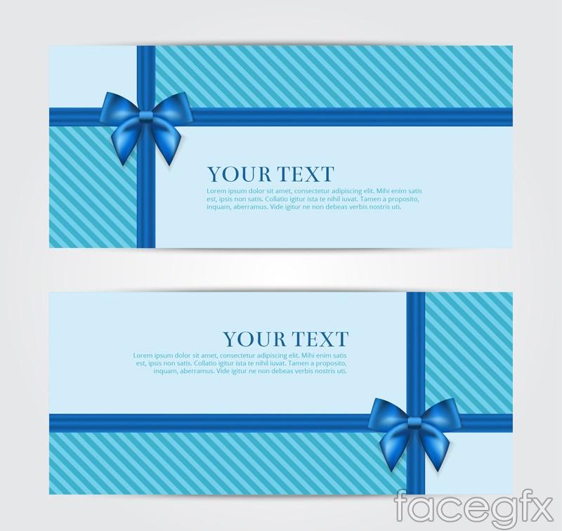 2 blue bow card vector