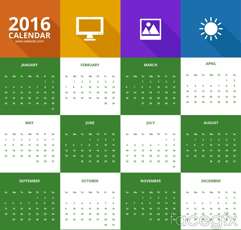 2016 calendar color vector