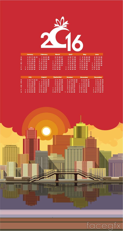 2016 cityscape calendar vector