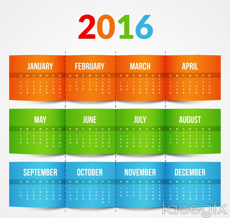 2016 color calendar vector graphics