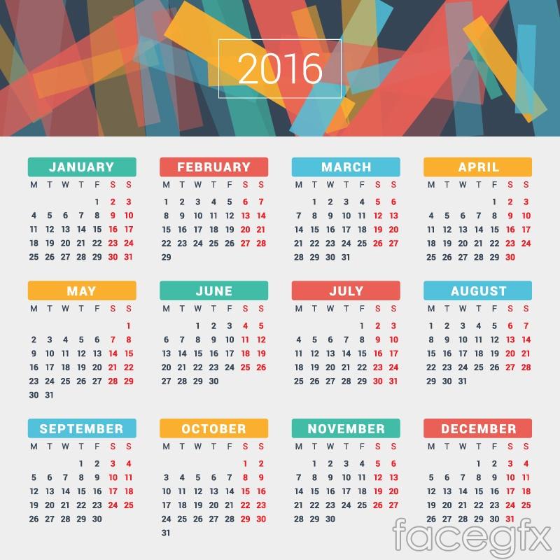 2016 design vector color calendar