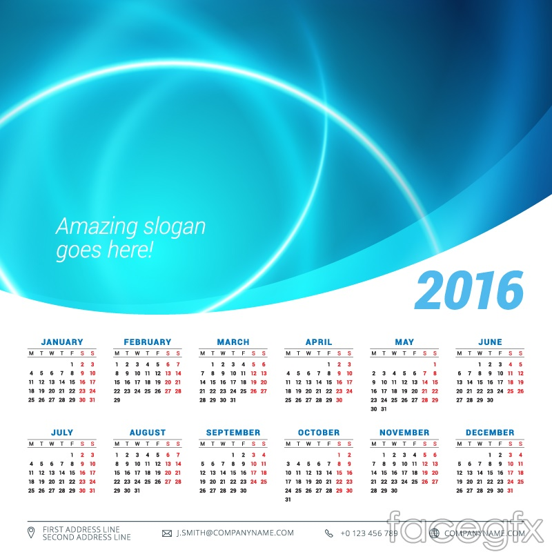 2016 fashion calendar blue vector