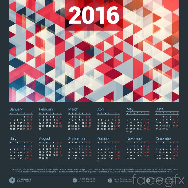 2016 geometric calendar vector