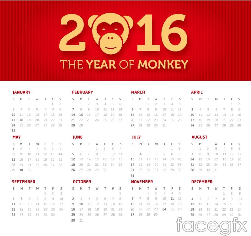 2016 monkey calendar vector