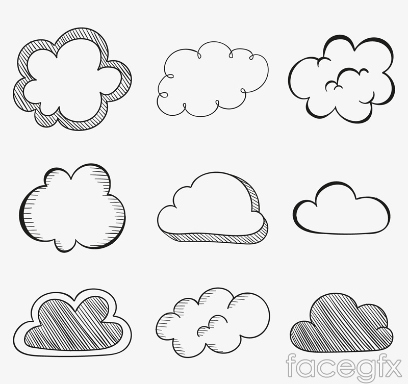 9 hand-painted clouds design vector graph