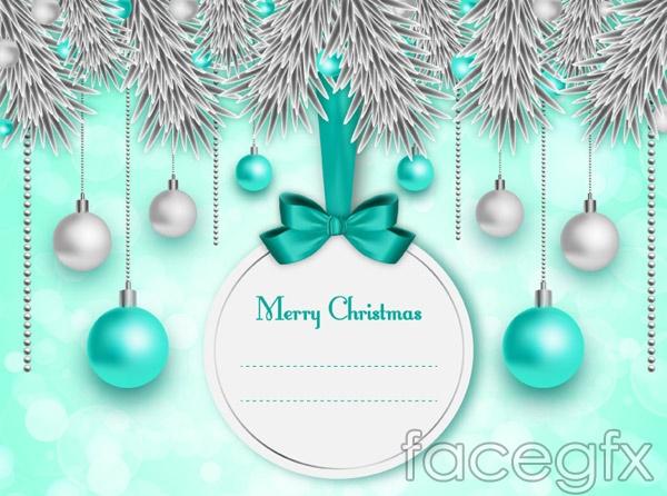 Ball pine Christmas cards vector