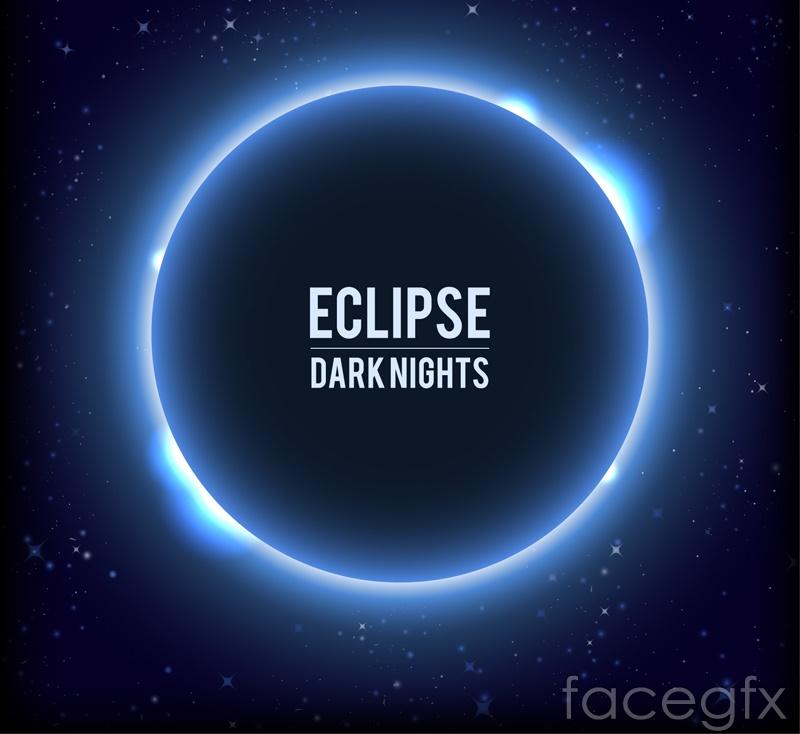 Blue solar eclipse light effect background vector
