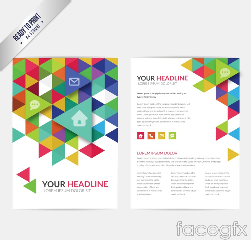 Business flyers color triangle element vector