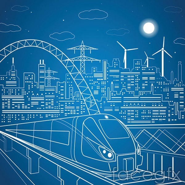 City rail illustration vector