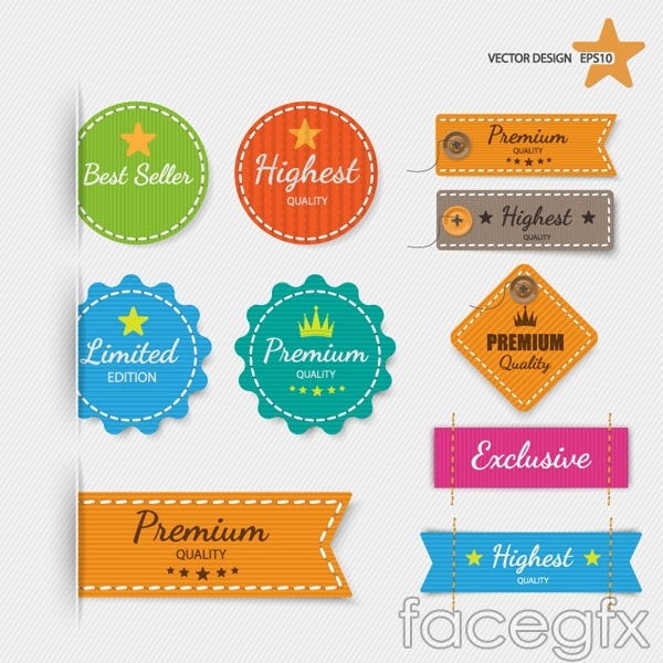 Clothing and promotional labels vector