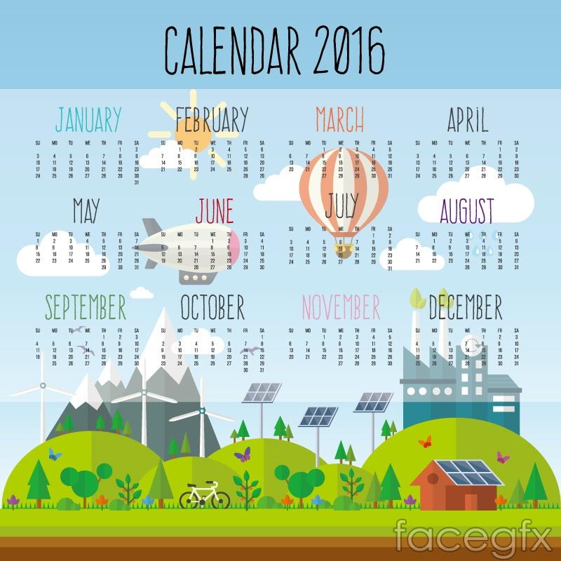 Creative 2016 environmental calendar vector