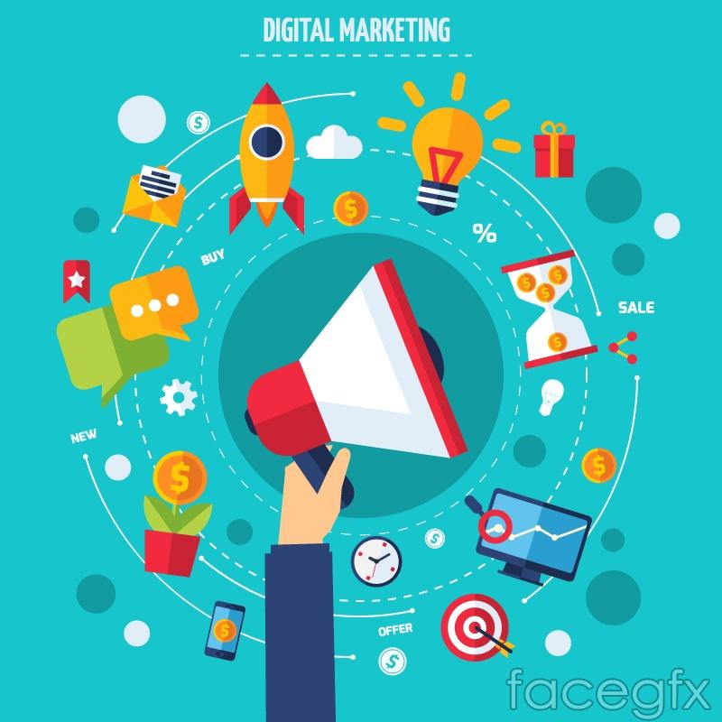 Creative digital marketing Illustrator vector maps