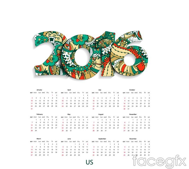 Fashion design vector 2016 calendar