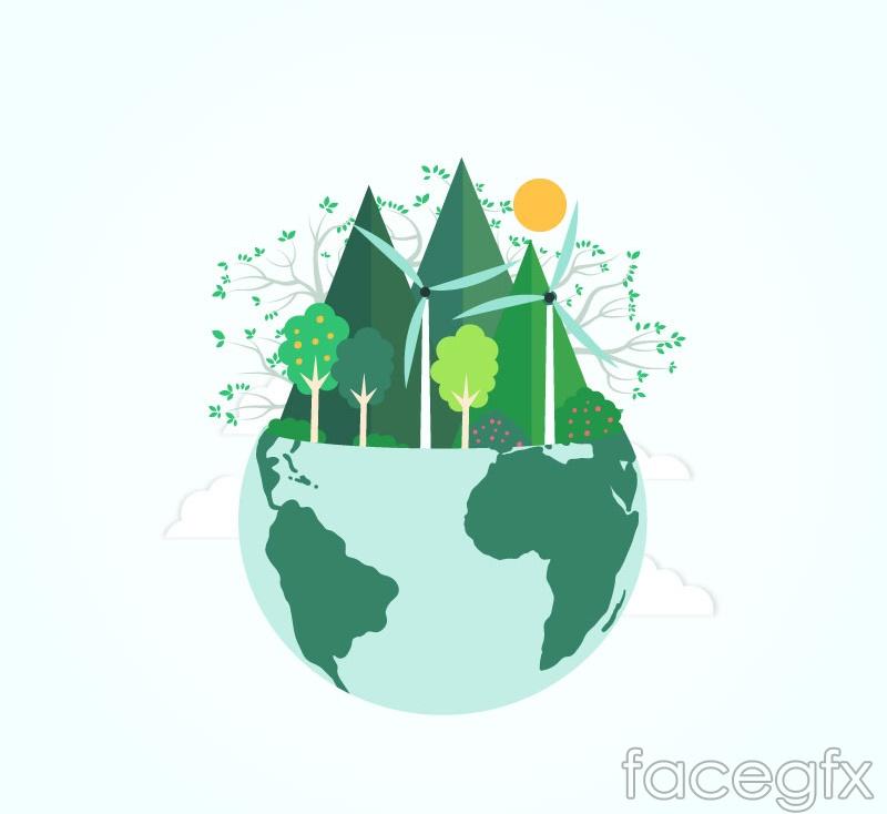 Green Earth clip art vector