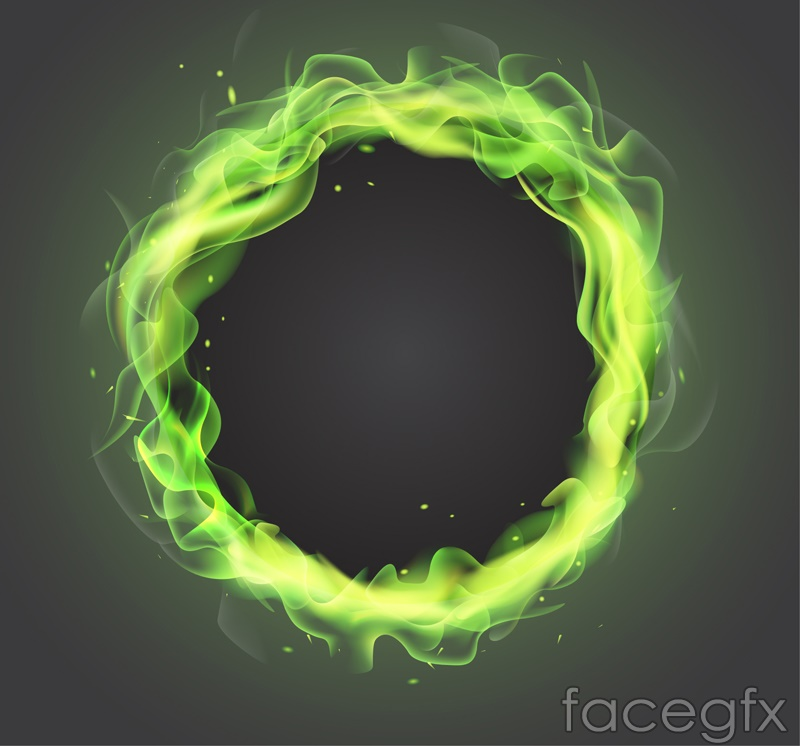 Green flame ring vector