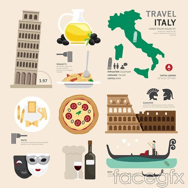 Italy cultural elements vector