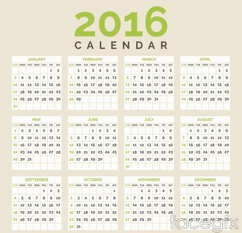 Simple 2016 calendar vector