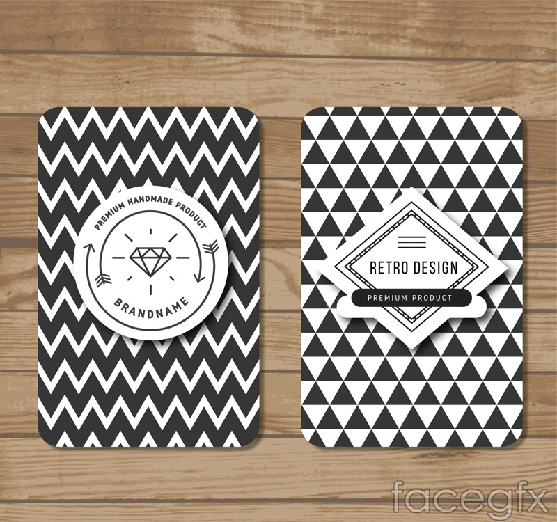 2 black and white cards, vector