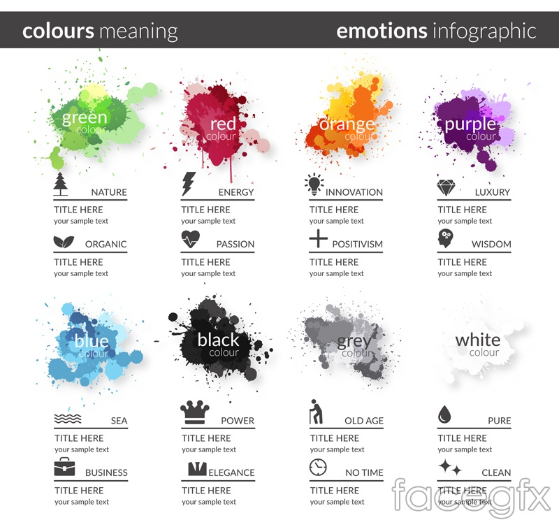 8 ink colors meaning infographic vector