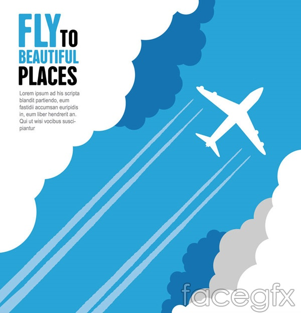 Aircraft through the clouds vector