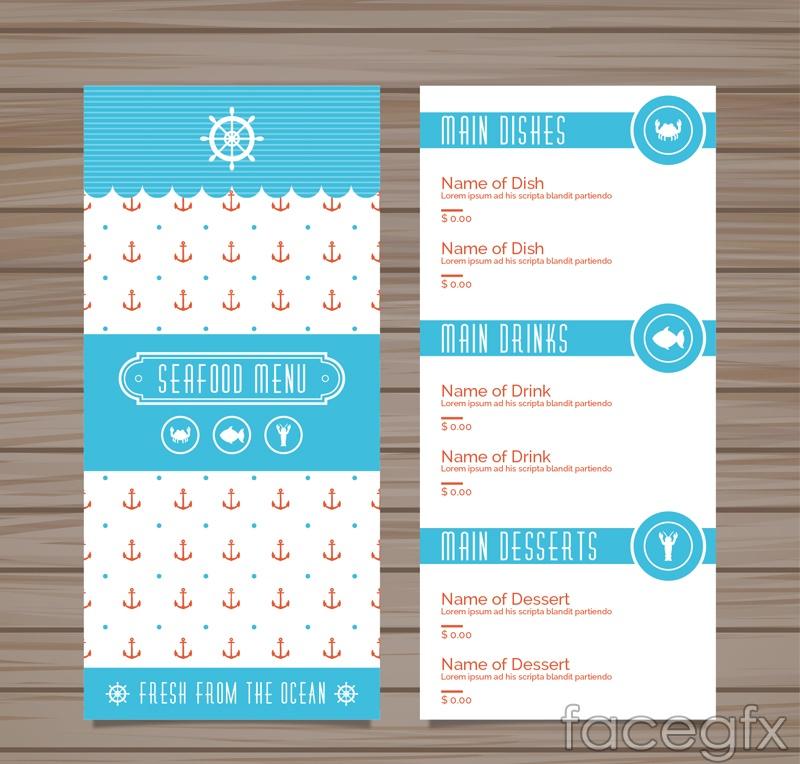 Blue sea food menu vector