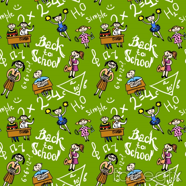 Cartoon student seamless background vector