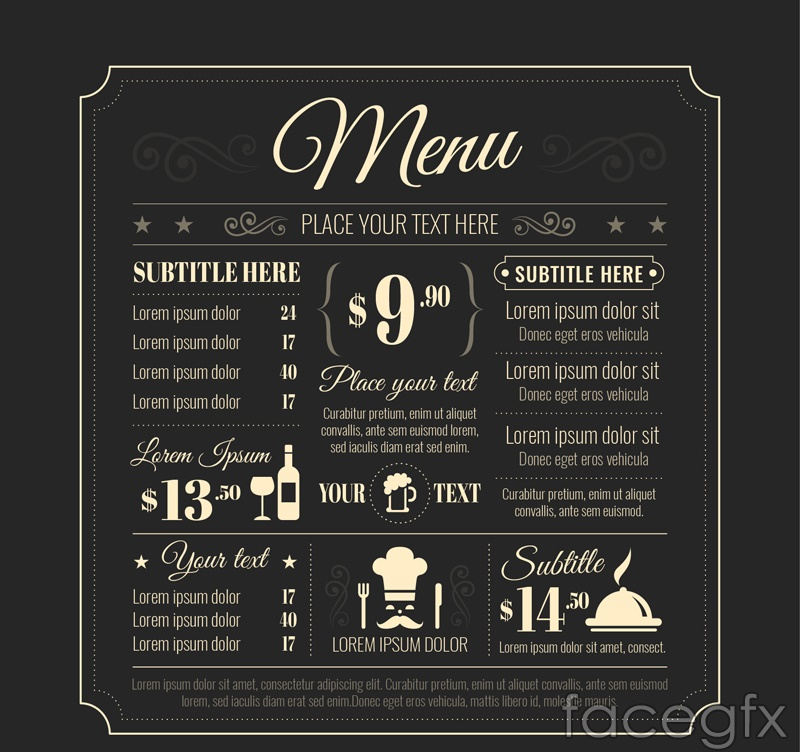 Creative menu vector