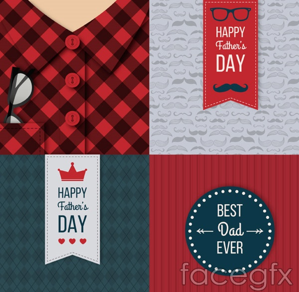 Fashion father's day cards vector