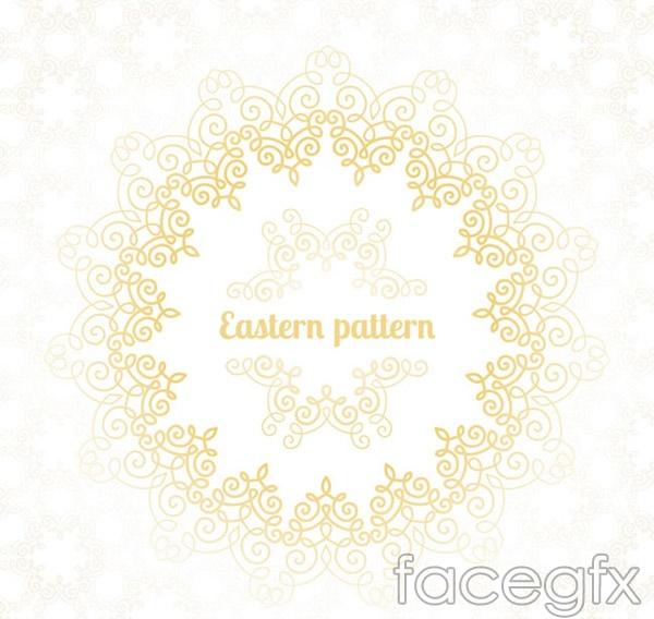 Gold circle pattern box vector