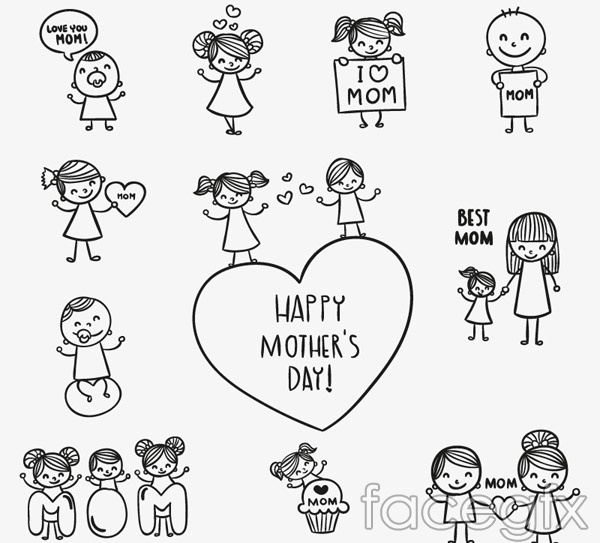 Hand-painted mother figure vector
