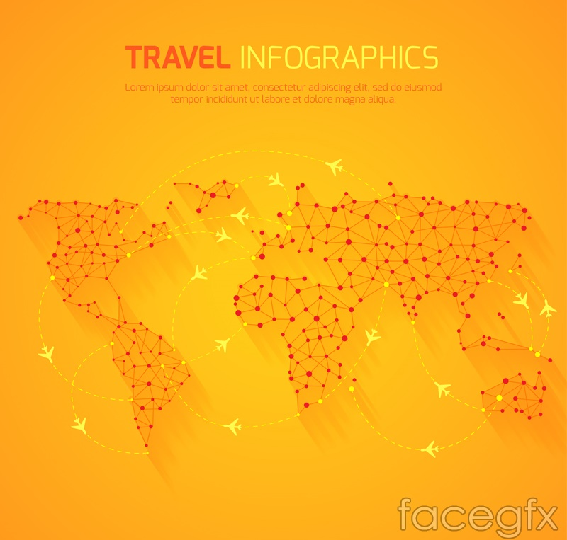 Orange world map vector