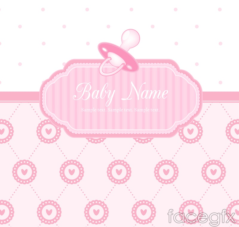 Pink baby party poster vector