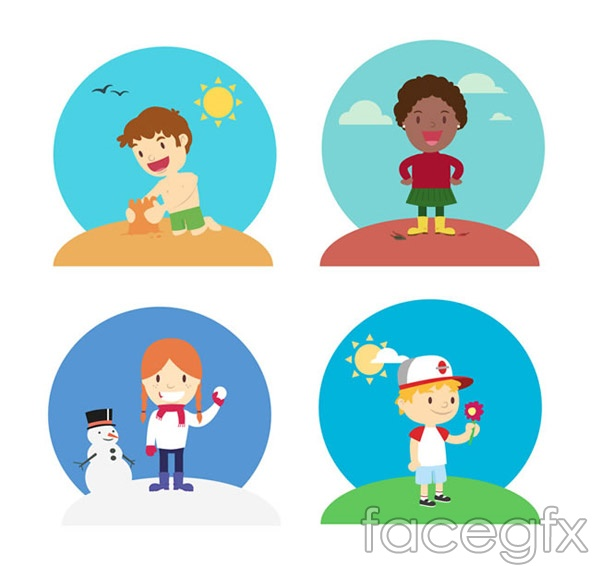 Play cartoon children vector