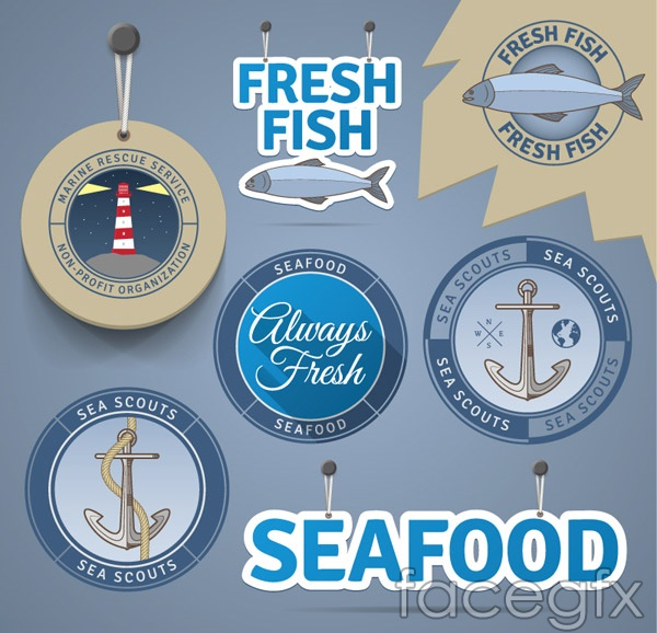 Sea product label vector
