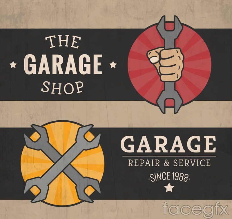 2 vintage auto repair banner vector diagrams