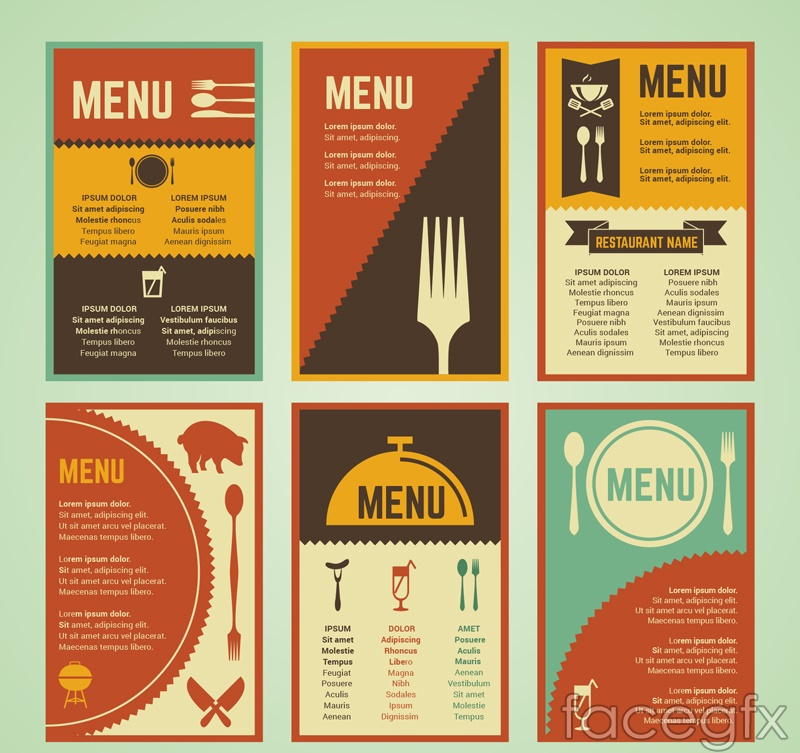 6 vintage menu design vector