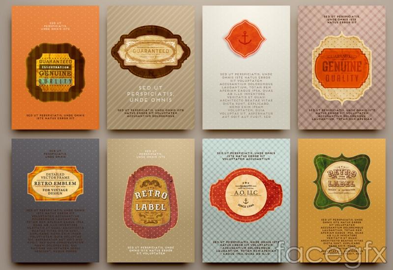 8 vintage promotional card vector