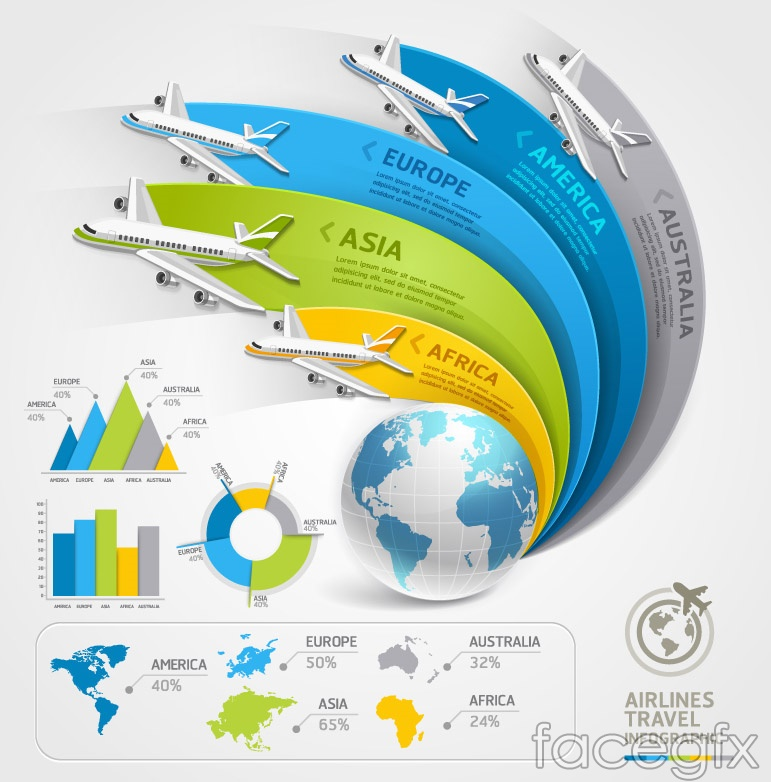 Air travel information map vector