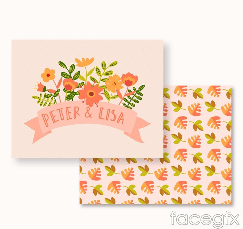 Cartoon flower wedding invitation card vector