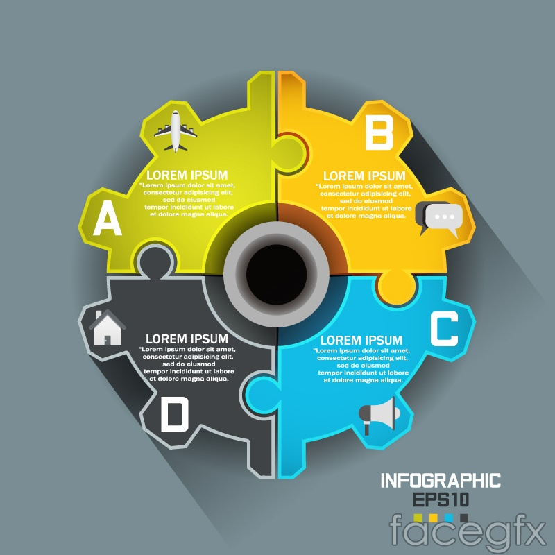 Creative business information jigsaw puzzle vector