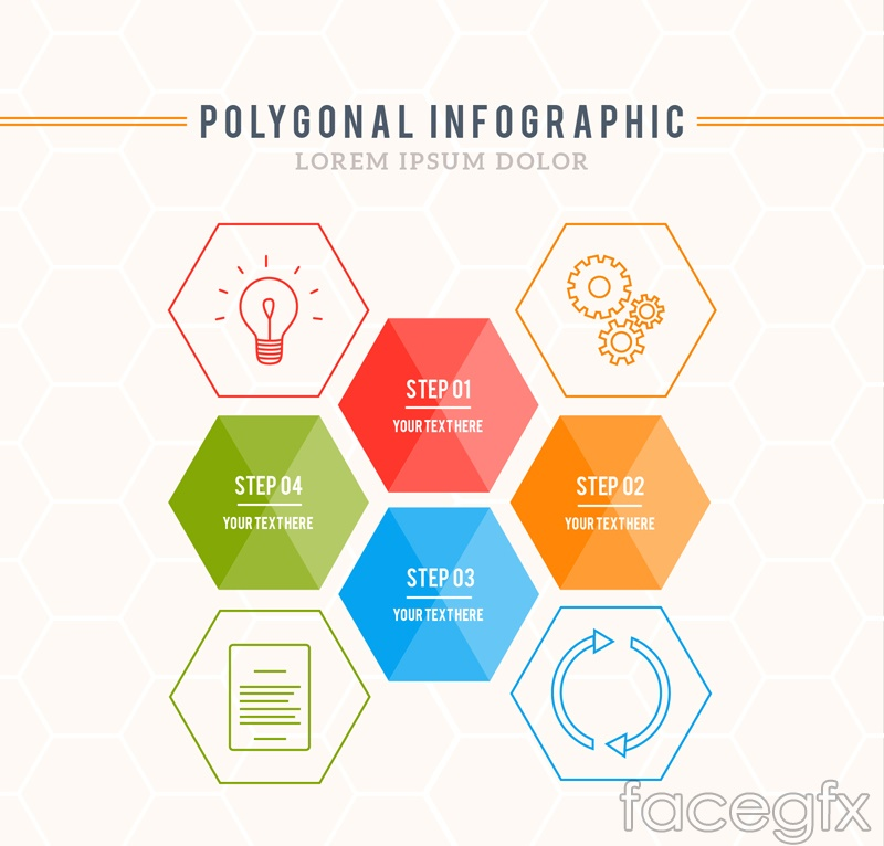 Hexagon fashion business information vector charts