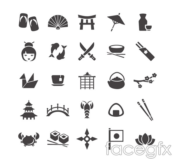 Japan element icons vector