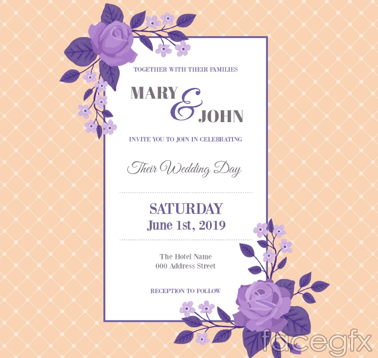Purple roses wedding invitation card vector