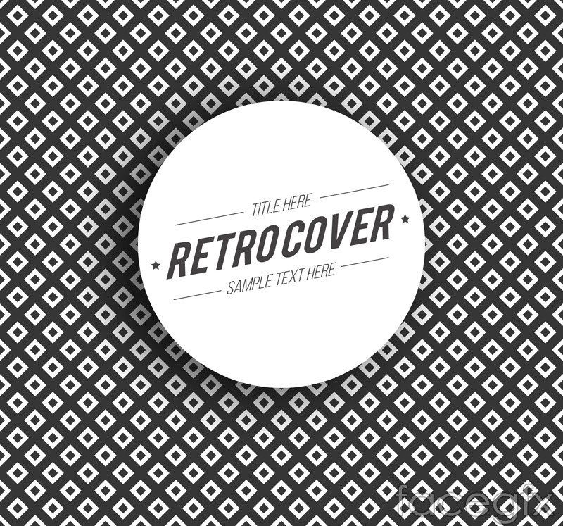 Retro black and white cover pattern vector
