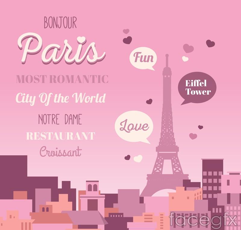Romantic Paris Eiffel Tower poster vector