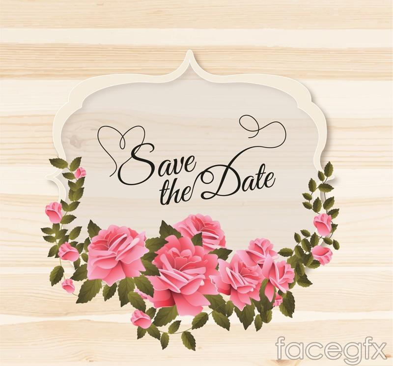 Rose wedding tag vector