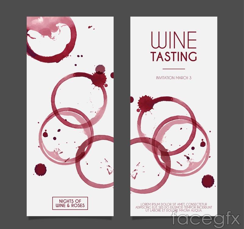 Water painting wine tasting invitation card vector