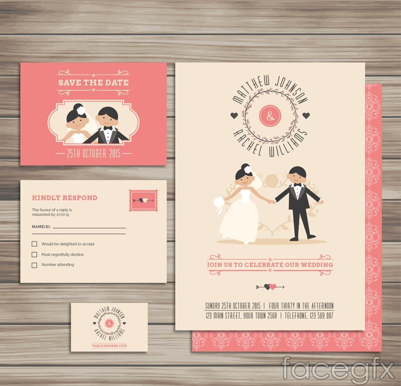 3 interesting wedding card vector